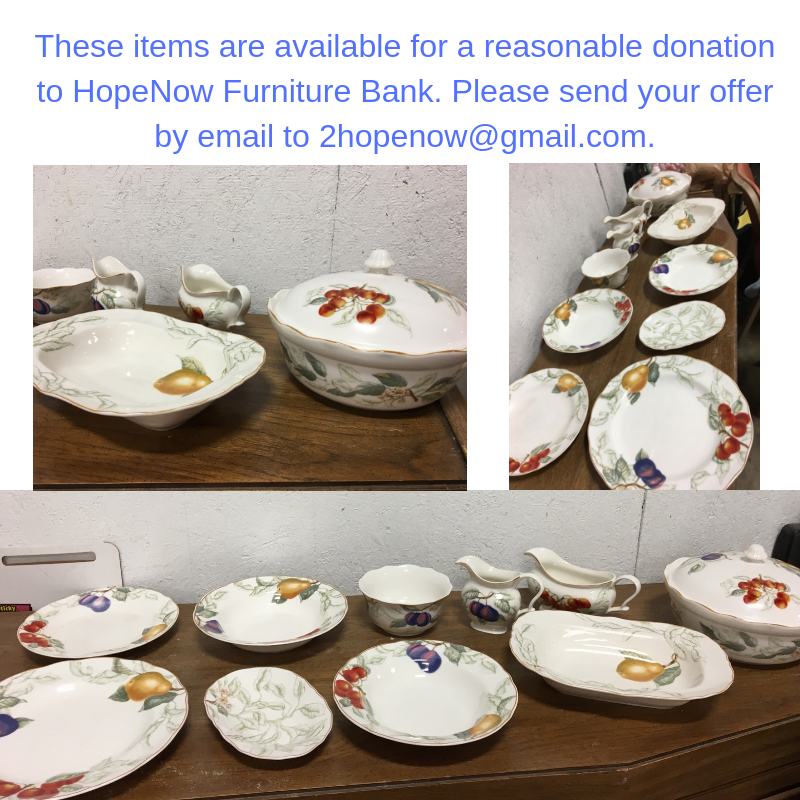 These items are available for a reasonable donation to HopeNow Furniture Bank. Please send your offer by email to 2hopenow@gmail.com.